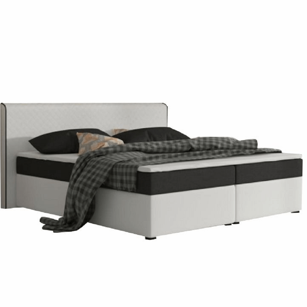 Komfortní postel, černá látka / bílá ekokůže, 180x200, NOVARA MEGAKOMFORT VISCO