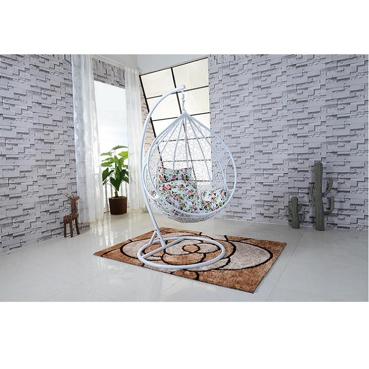 Modern hintaszék, fehér keret+fehér rattan+virág minta, NOELA