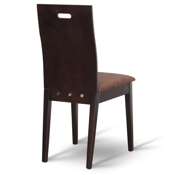 Drevená stolička, wenge/látka tmavohnedá, ABRIL