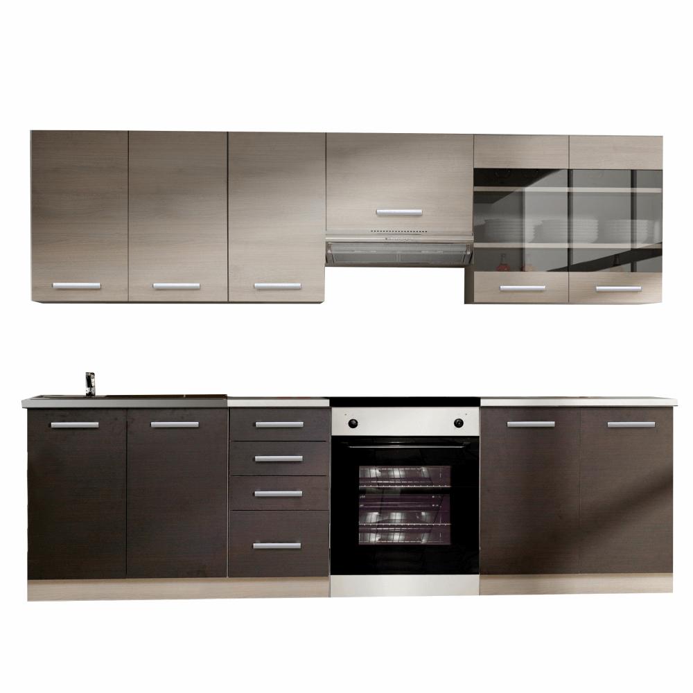 Kuchyňská linka, dub světle šedý / dub tmavý, KLANTON