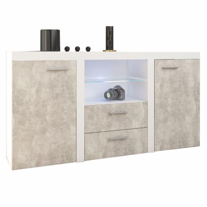Komód, világos betonszín/fehér, ROCHESTER