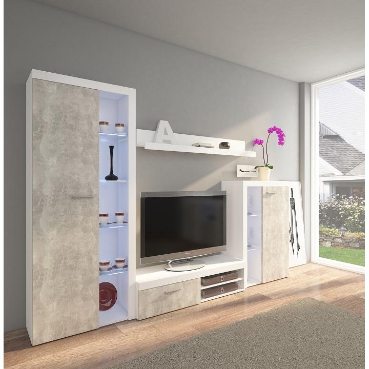 Obývacia stena, betón svetlý/biela, ROCHESTER