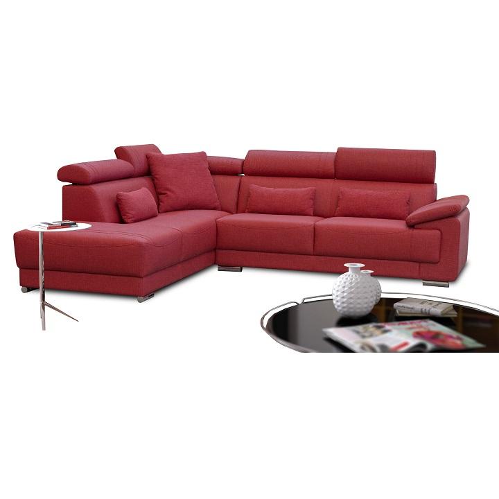 Rohová sedacia súprava, látka vínová, ľavá, CAILA