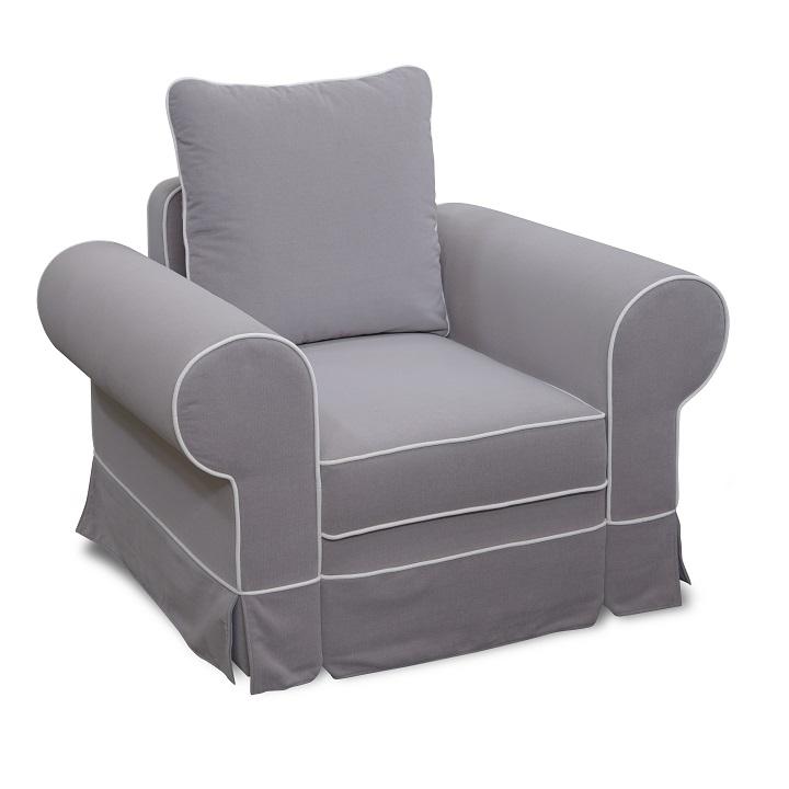 LIMBA teljesen kárpitozott fotel country stílusban,szürke / krém