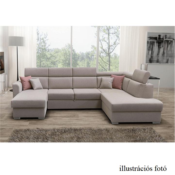 Luxus ülőgarnitúra, bézs/téglaszín, jobbos kivitel, MARIETA U