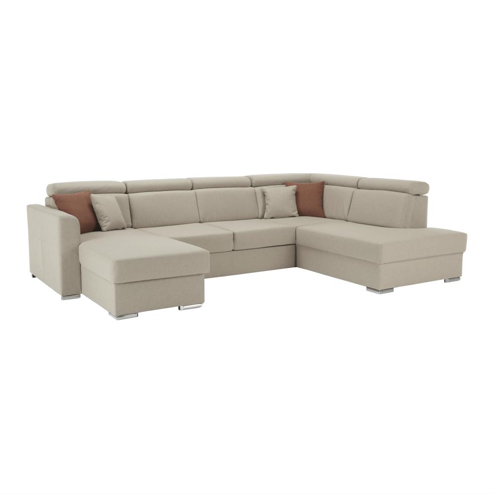 Luxus kivitelű ülőgarnitúra, bézs/téglavörös, jobbos, MARIETA U