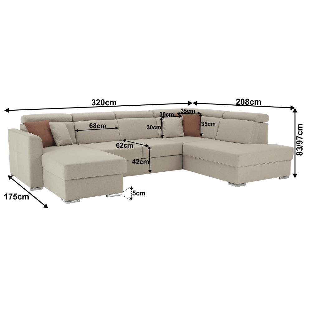 Luxusná sedacia súprava, béžová/tehlová, pravá, MARIETA U