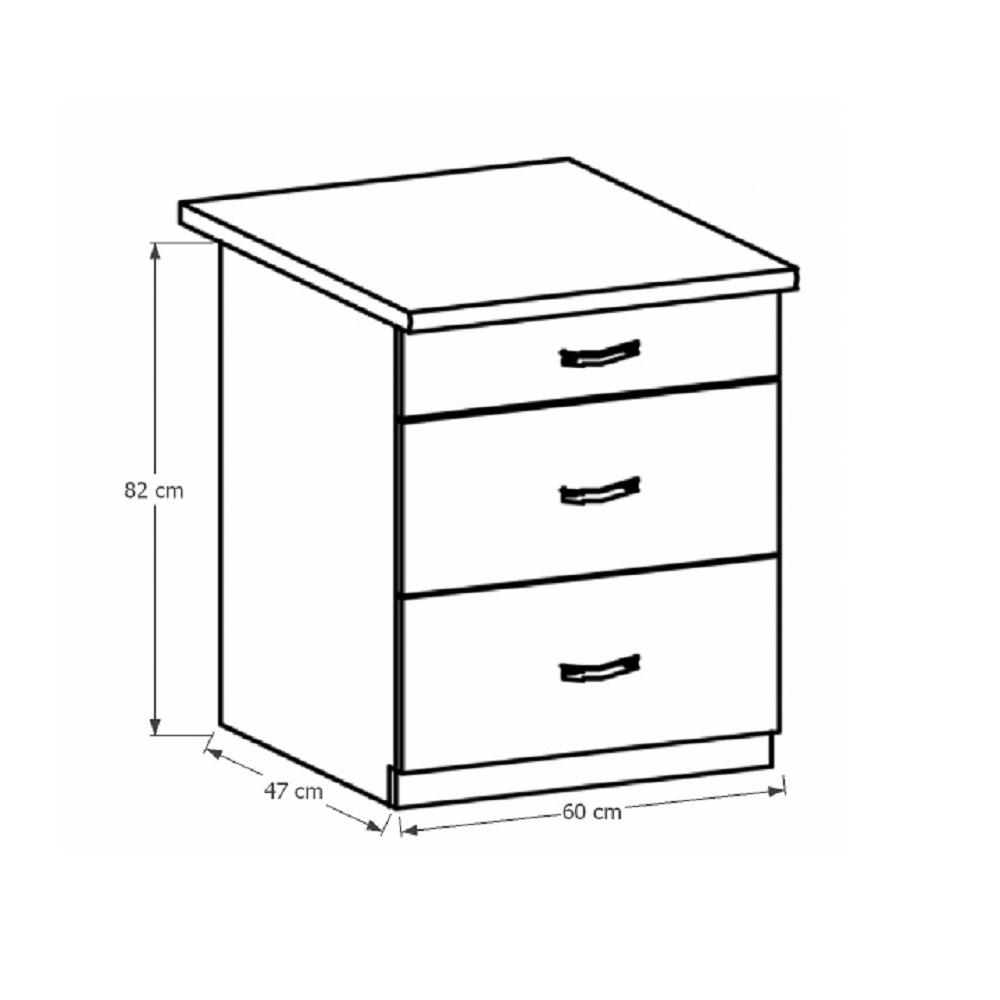 PROVANCE D60S3 alsó szekrény három fiókkal, fenyő Andersen/fehér
