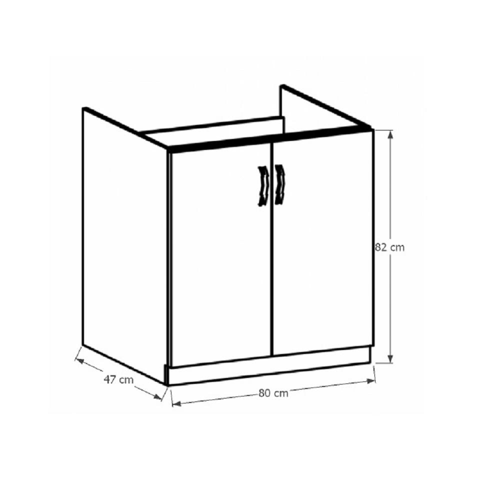 PROVANCE D80Z alsó mosogató szekrény, fenyő Andersen/fehér