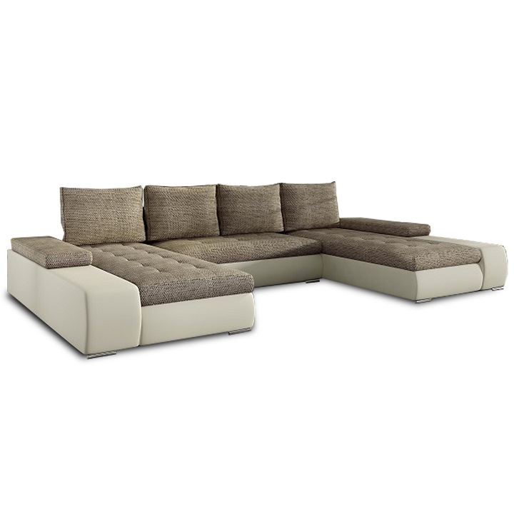 Univerzálna sedacia súprava, tvar U, béžová/hnedý melír, MALIBU U
