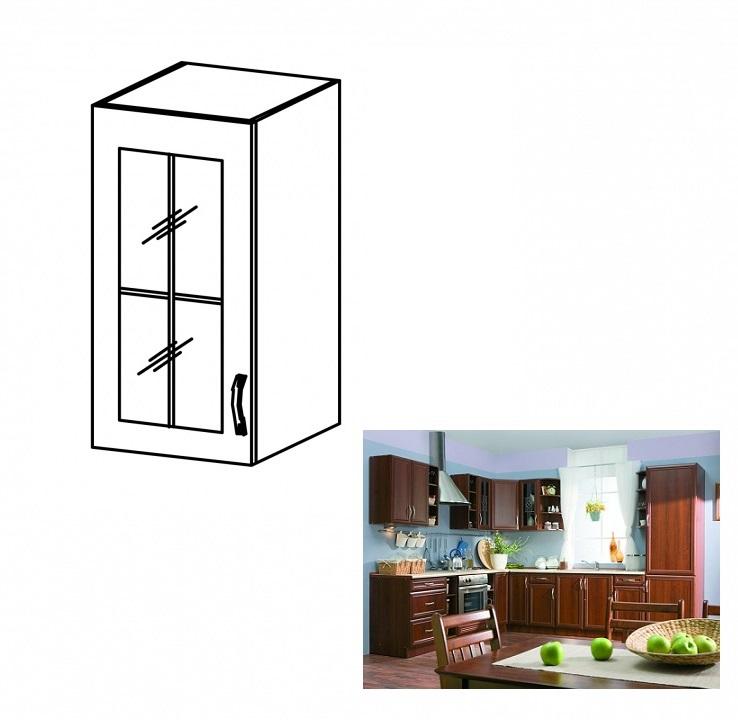 Felső szekrény üveggel, balos, dió Milano, SICILIA G40S
