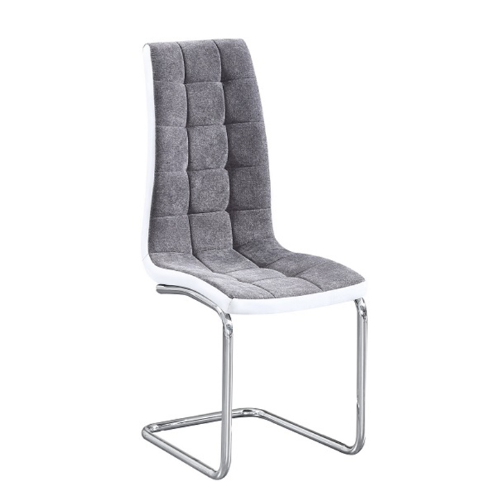 Jedálenská stolička, tmavosivá látka/ekokoža biela/chróm, SALOMA NEW