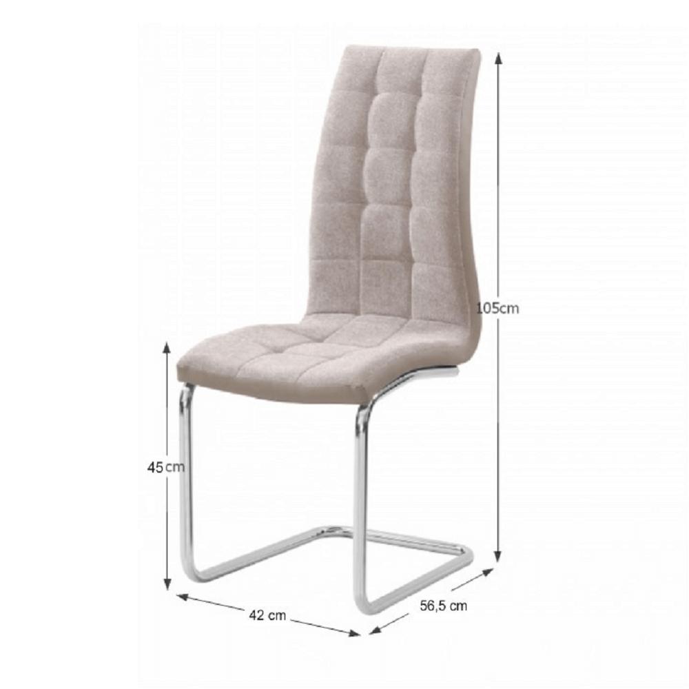 Jedálenská stolička, béžová/chróm, SALOMA NEW