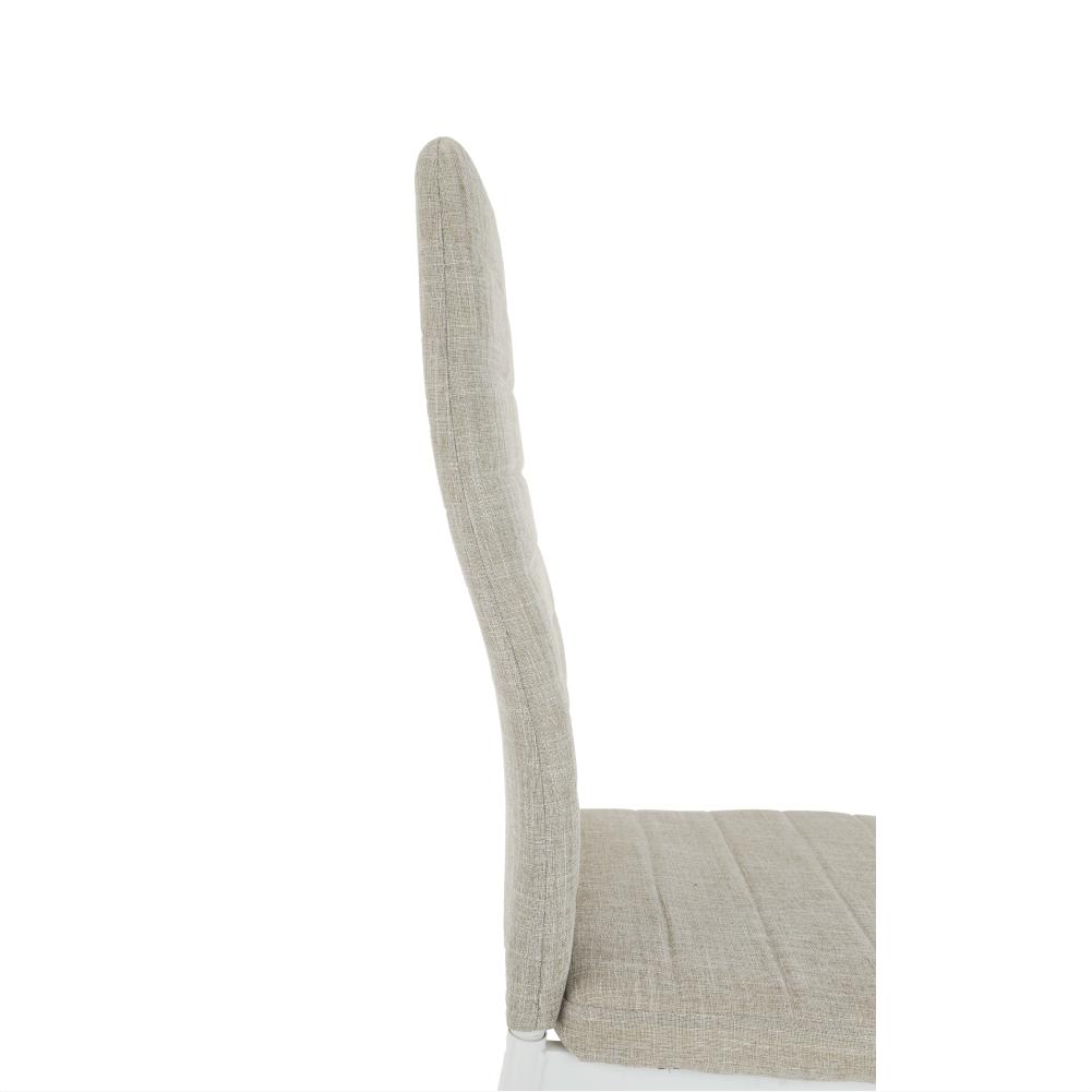 Stolička, béžová látka/biely kov, COLETA NOVA