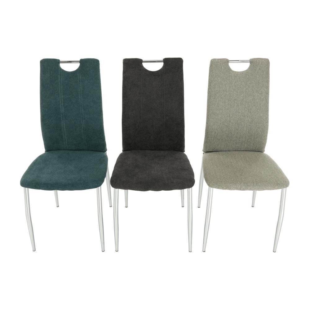 Scaun bucătărie, material textil bej/crom, OLIVA NEW