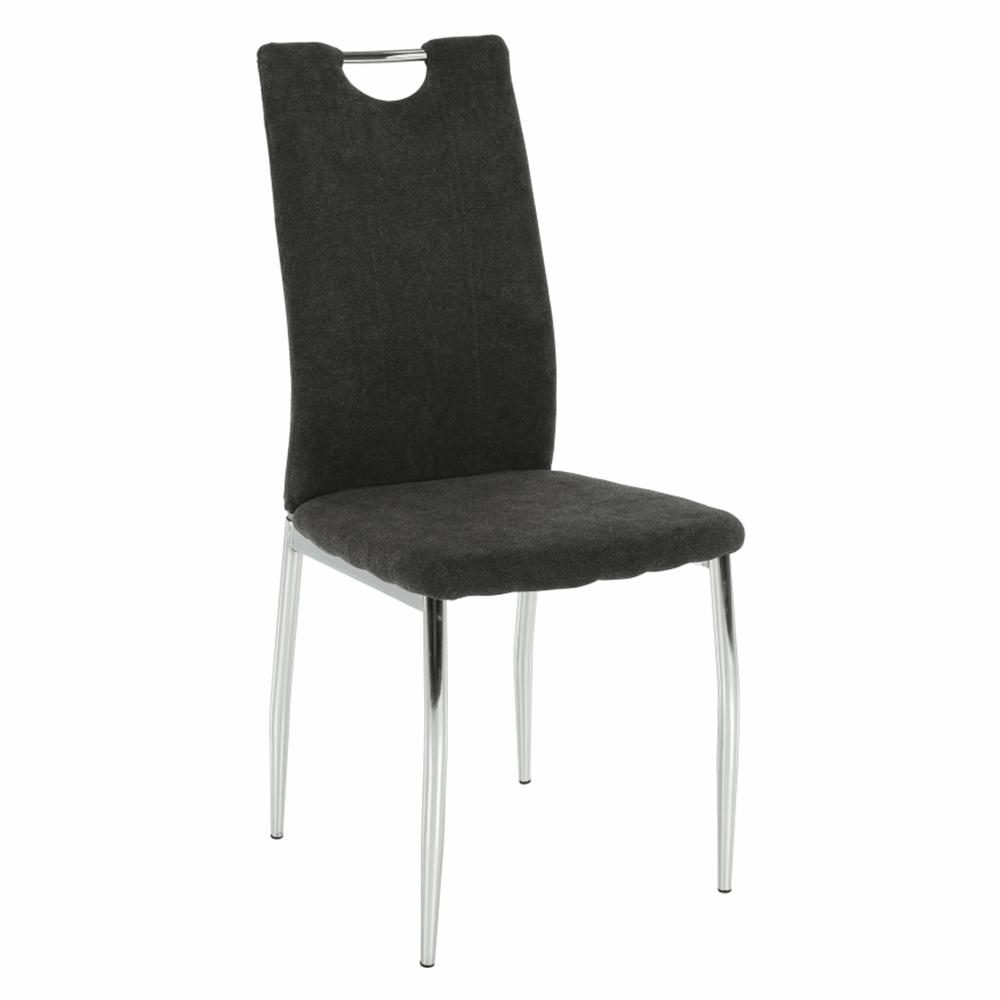 Jedálenská stolička, hnedosivá látka/chróm, OLIVA NEW