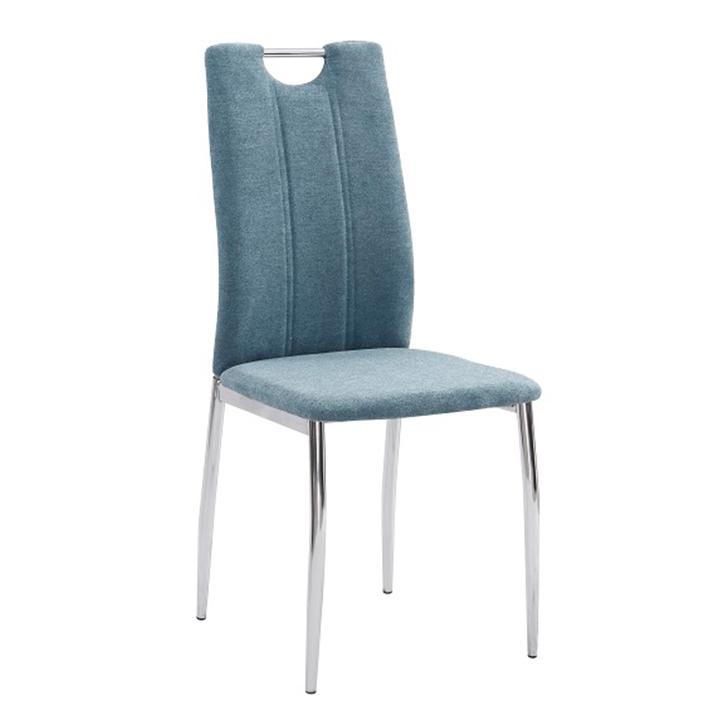 Jedálenská stolička, azúrová látka/chróm, OLIVA NEW