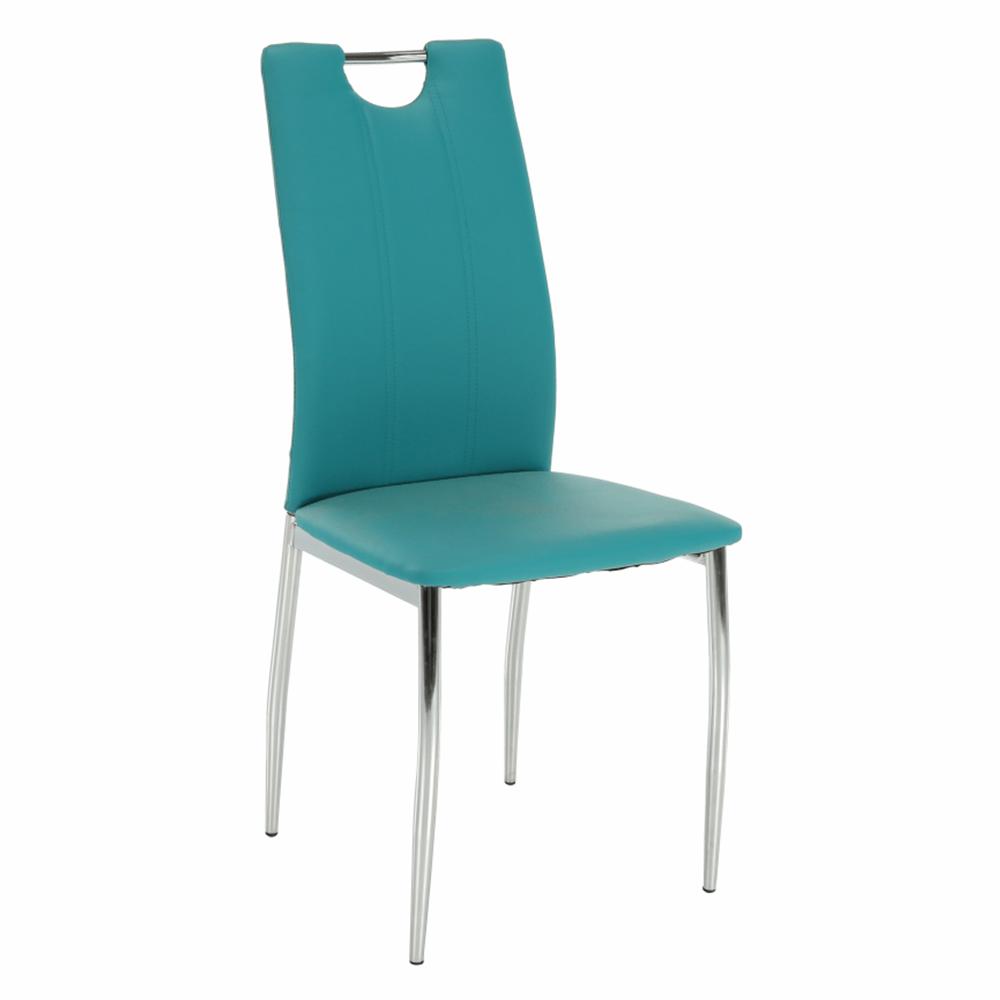 Jedálenská stolička, ekokoža petrolejová/chróm, OLIVA NEW