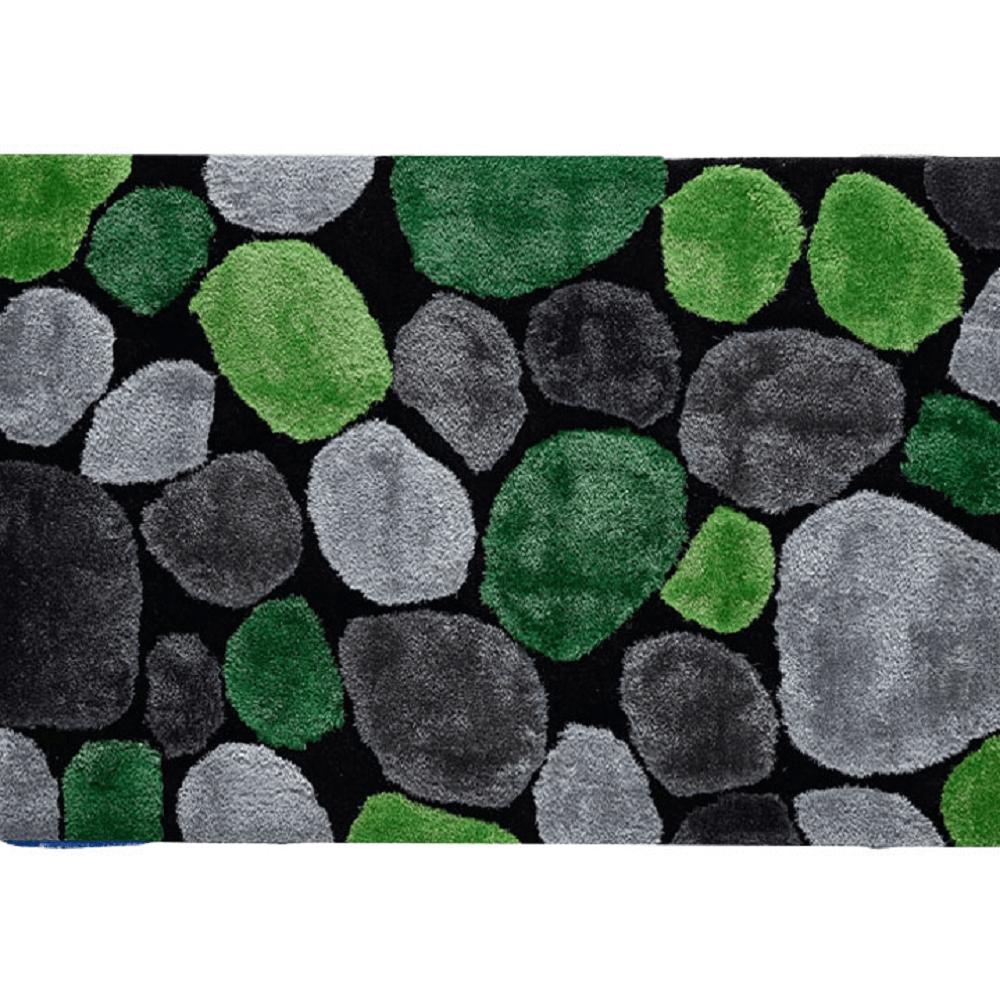 Koberec, zelená / šedá / černá, 70x210, PEBBLE TYP 1