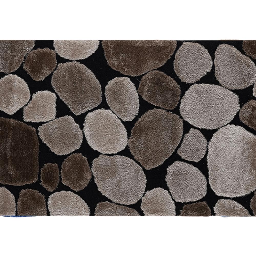 Koberec, hnedá/čierna, 140x200, PEBBLE TYP 2