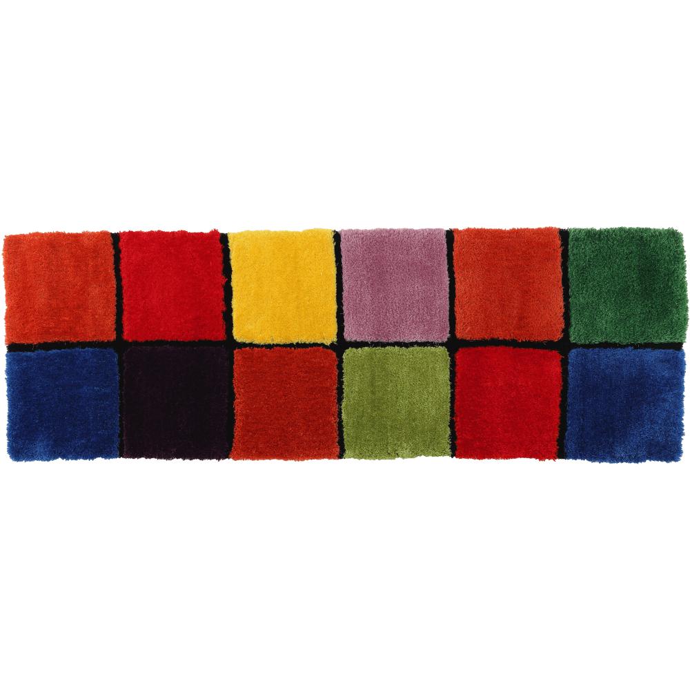 Koberec, červená/zelená/žltá/fialová, 70x210, LUDVIG TYP 4