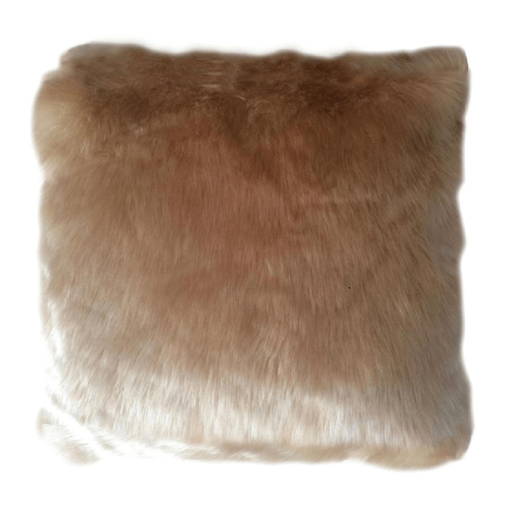 Vankúš, imitácia ovčej kožušiny, béžová, 45x45, ROSALINE