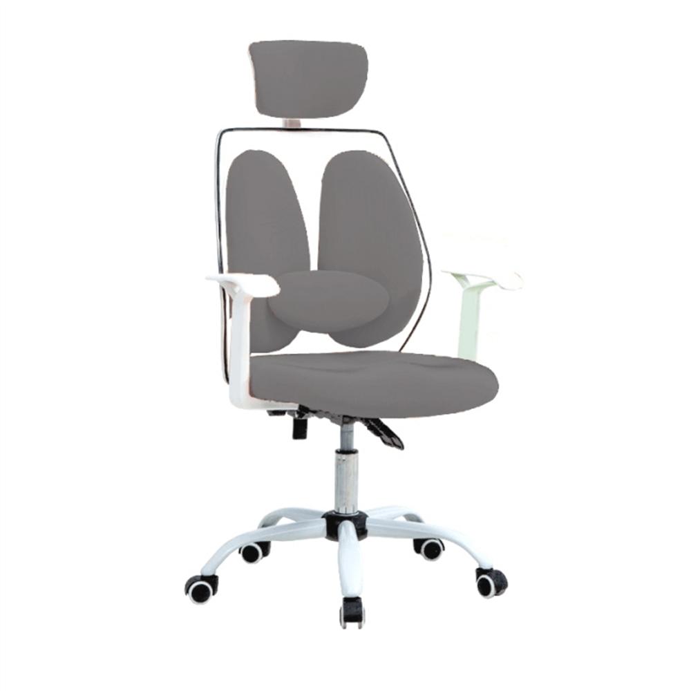 Kancelárske kreslo s opierkou hlavy, sivá/biela, BENNO UT-C568X
