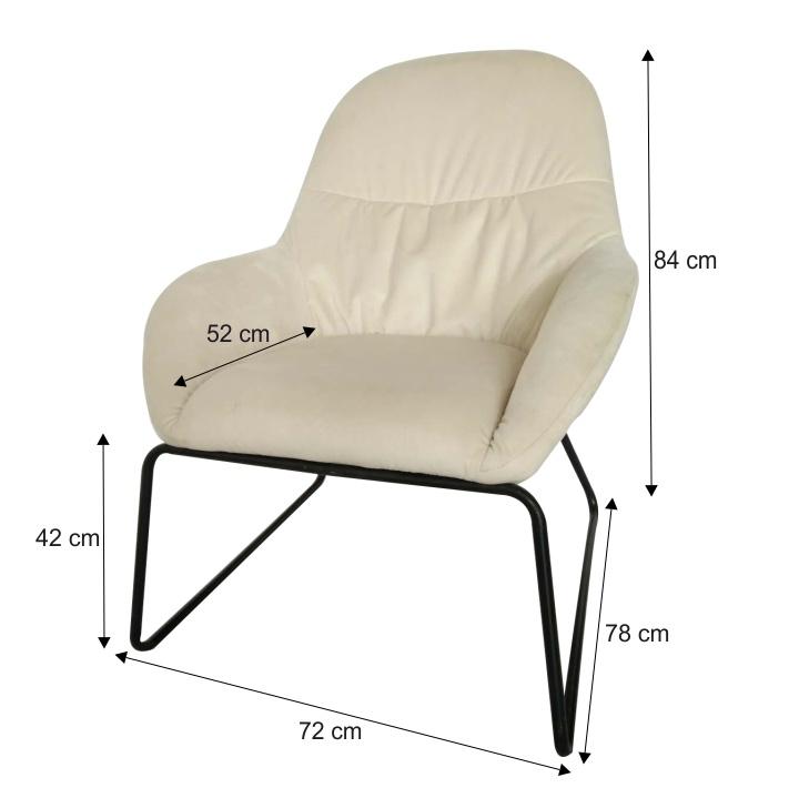 Dizájn fotel, bézs/fekete fém, MARTEL