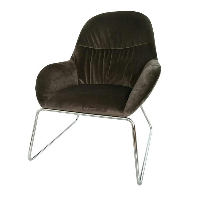 Dizájn fotel, sötétszürke/króm, MARTEL