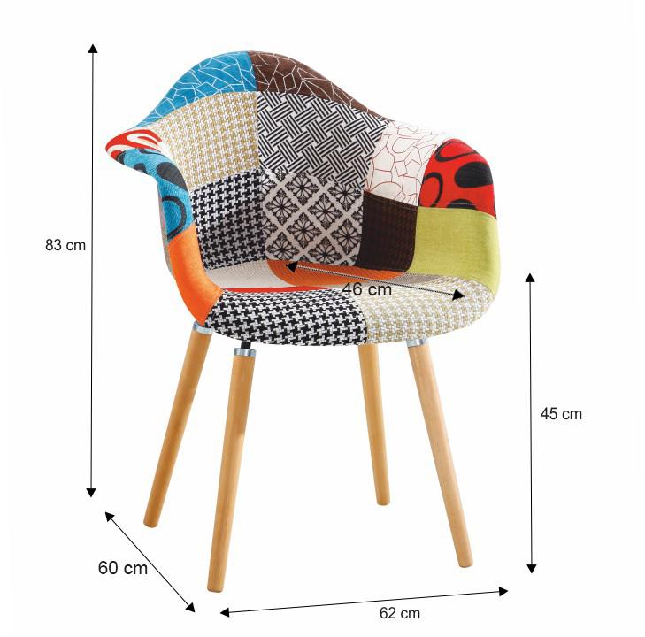 Fotel, anyag patchwork/bükk, KADIR tip 1