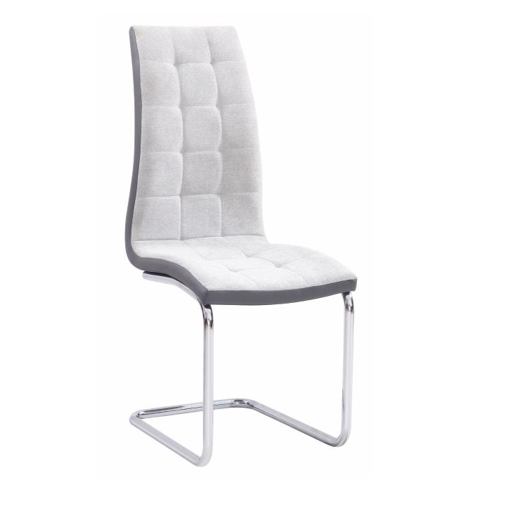 Jedálenská stolička, svetlosivá/sivá/chróm, SALOMA NEW