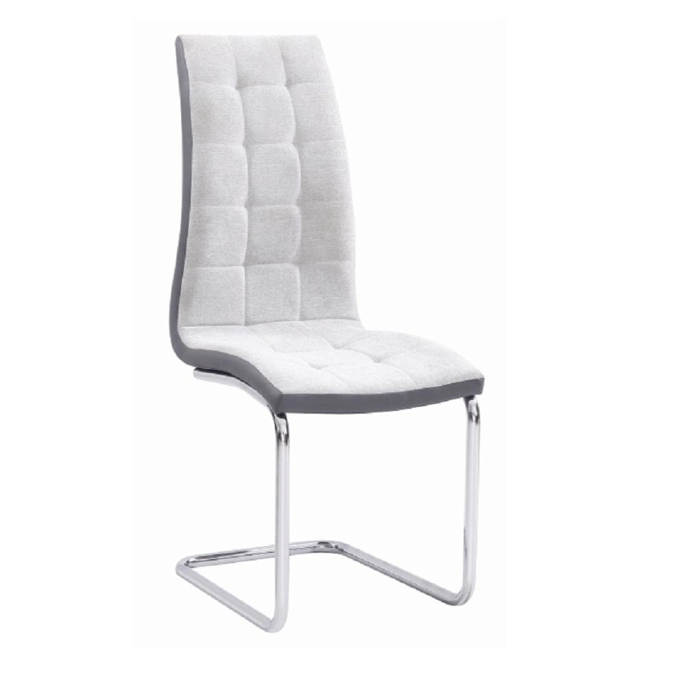 Jídelní židle, světlešedá / šedá / chrom, SALOMA NEW