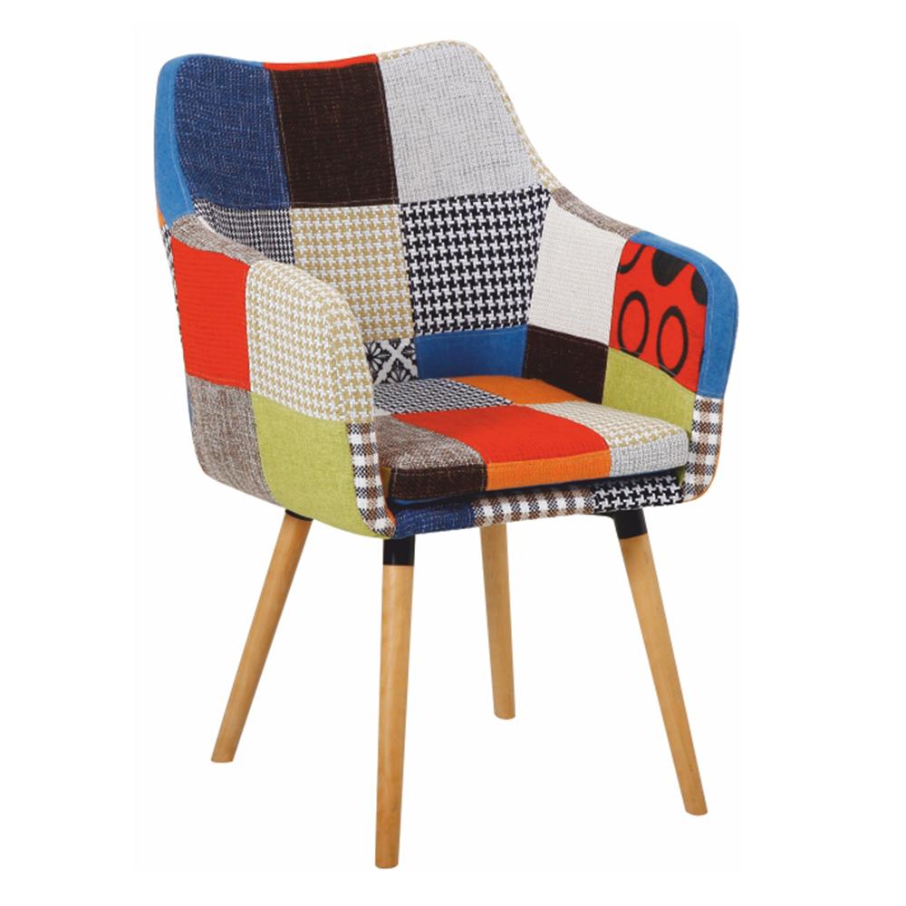Fotel, színes patchwork/bükk, LANDOR