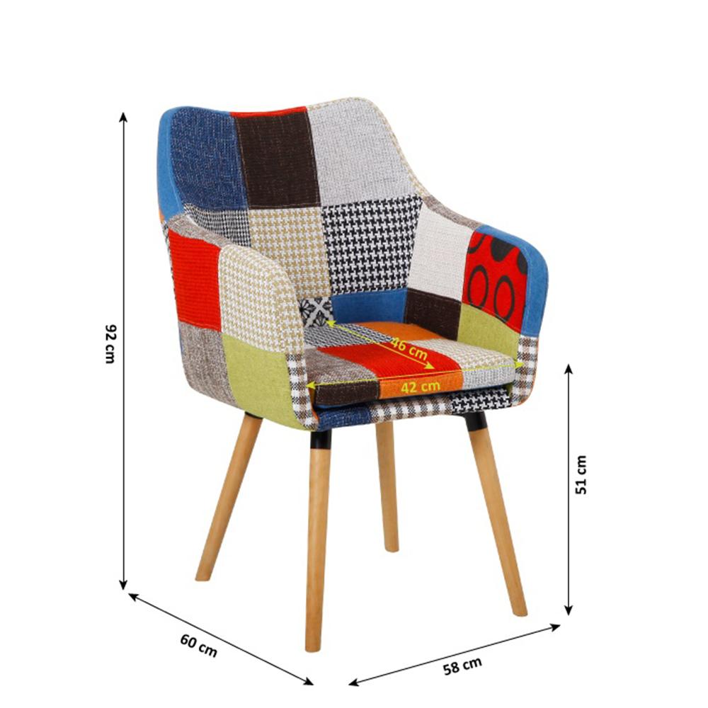 Křeslo, barevný patchwork / buk, LANDOR