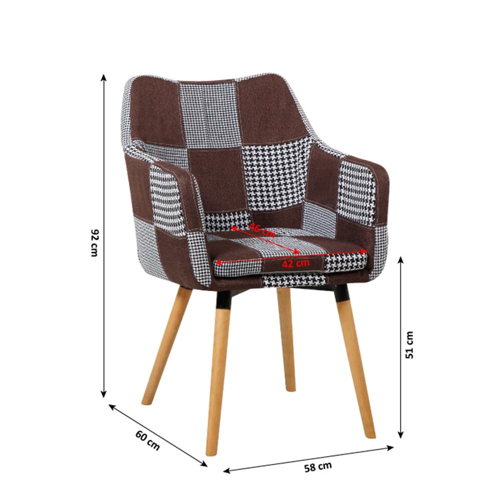 Fotel, barna/fekete patchwork/bükk, LANDOR