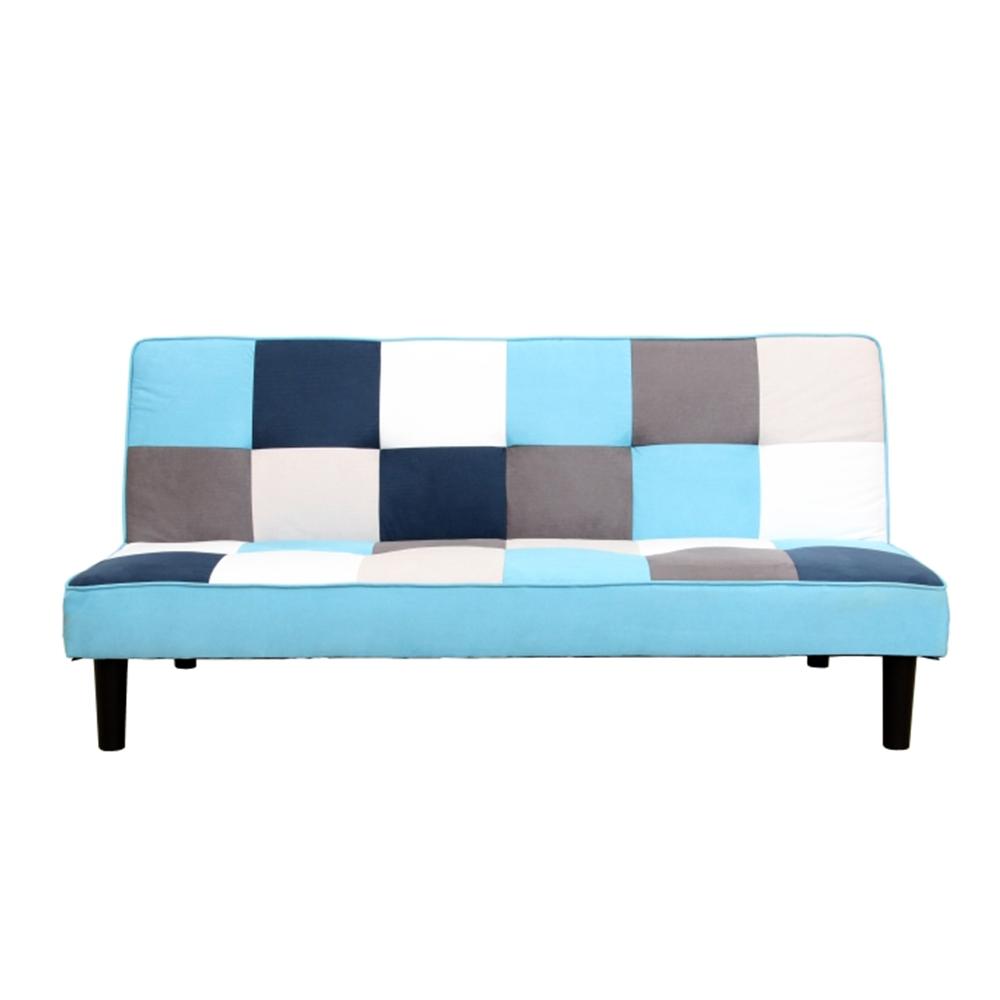 Colţar extensibil, material textil alb/albastru/gri, ARLEKIN