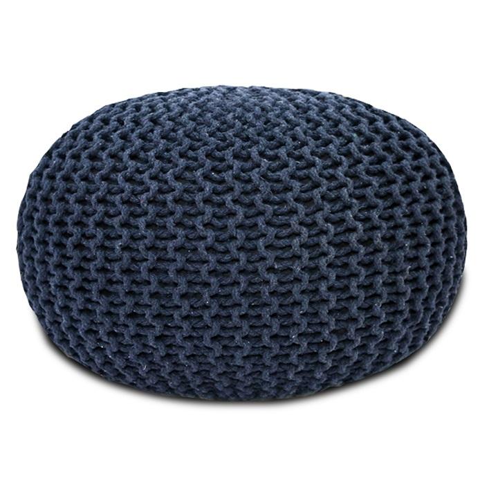 Pletený taburet, sivá bavlna, GOBI TYP 2
