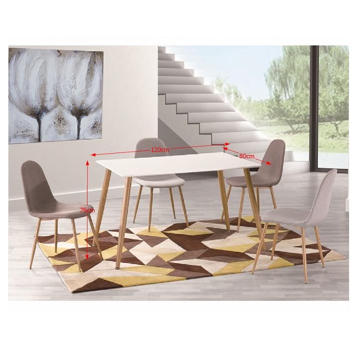 TEMPO KONDELA Jedálenský stôl, biely matný/vzor drevo, KUMAR NEW - Tempo nábytek