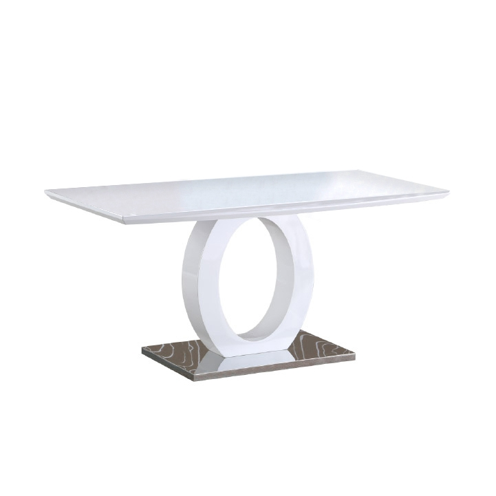 Jedálenský stôl, biela vysoký lesk/oceľ, ZARNI, poškodený tovar