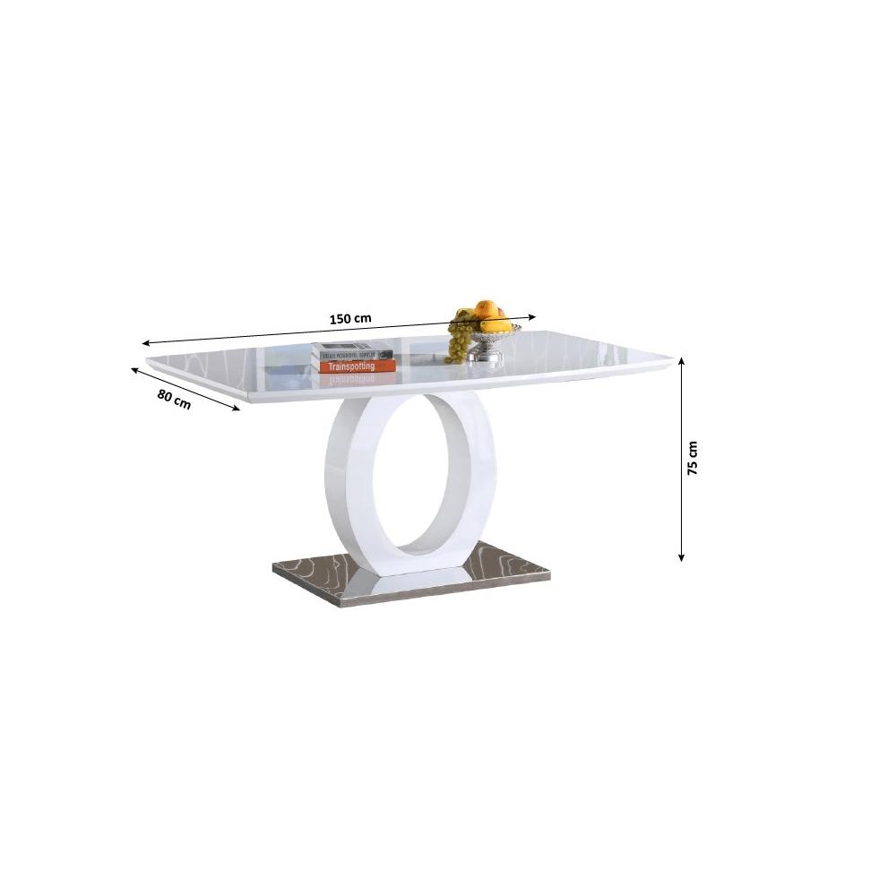 Jídelní stůl, bílá vysoký lesk / ocel, ZARNI