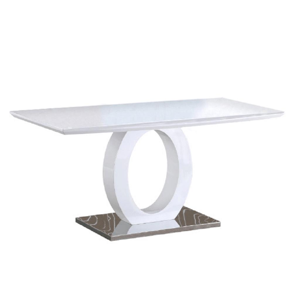 Jídelní stůl, bílá vysoký lesk / ocel, ZARNI, TEMPO KONDELA