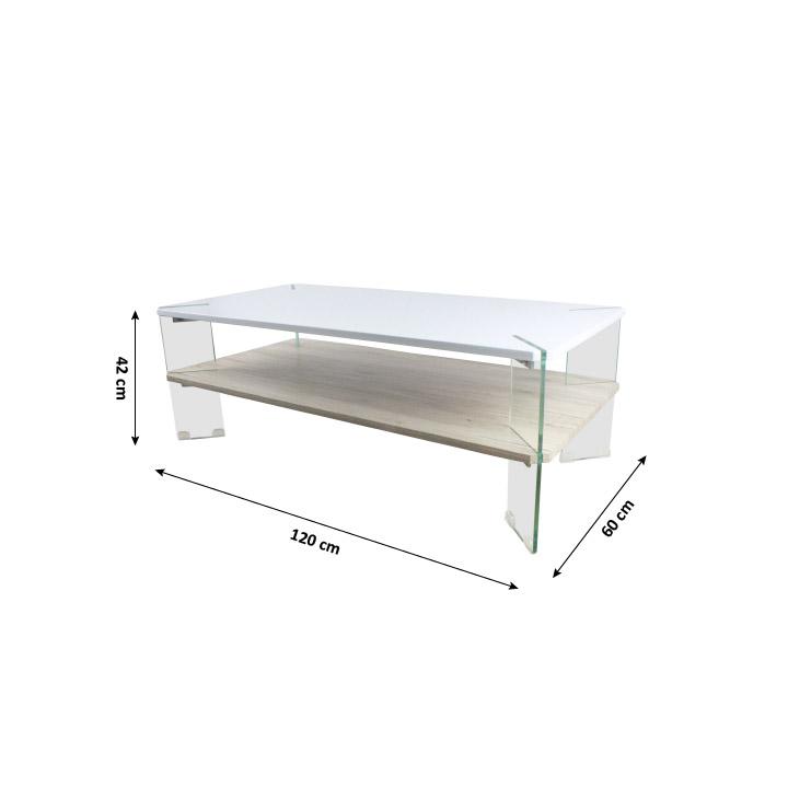 TEMPO KONDELA Konferenčný stolik, biela HG s leskom/vzor drevo, MABILO - Tempo nábytek