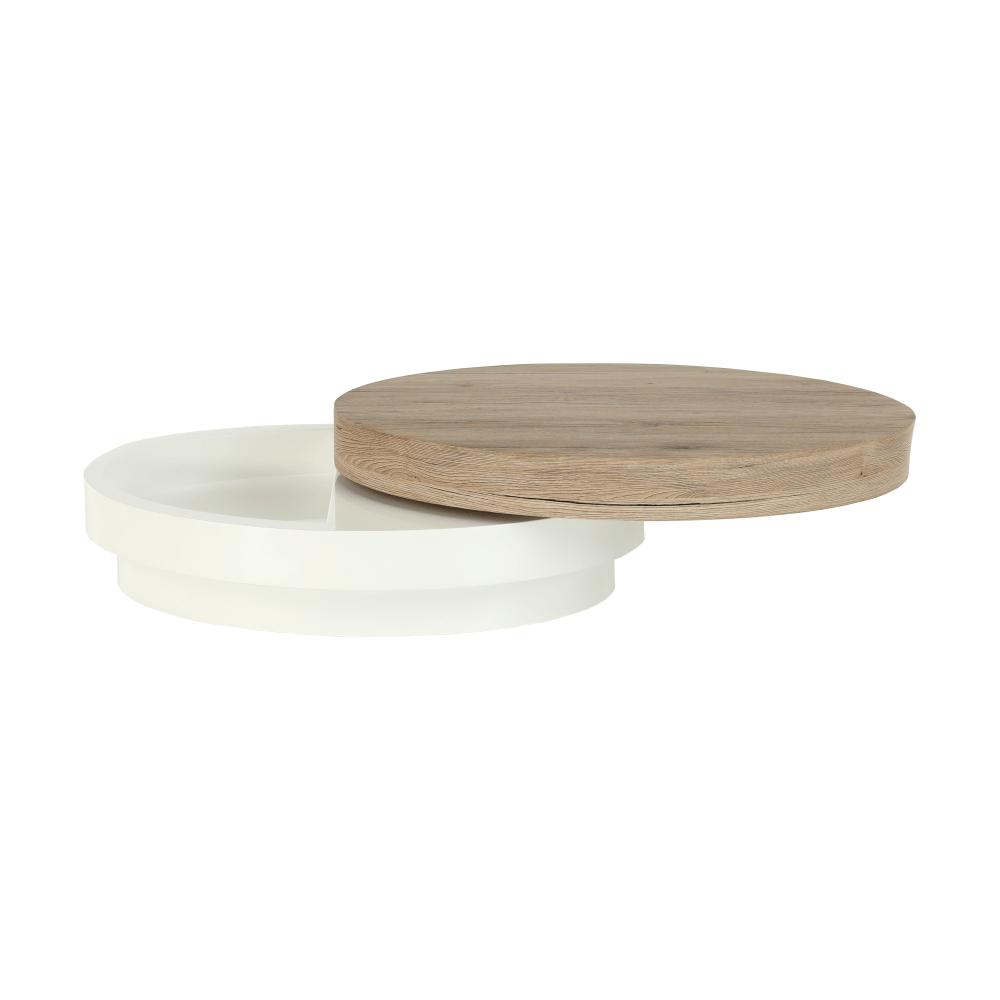Konferenční stolek, bílá vysoký lesk / dub sonoma, JEMAN