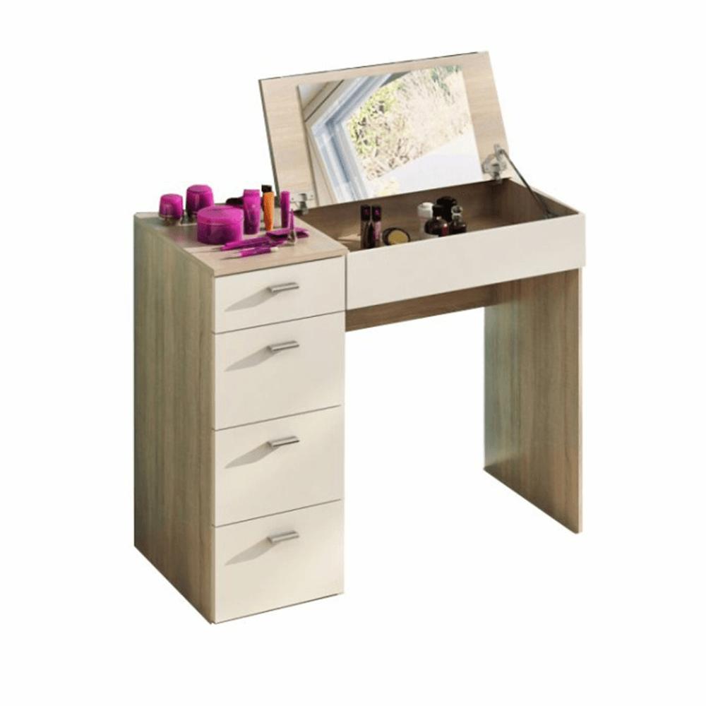 Toaletný stolík, toaletka, dub sonoma/biela, BELINA