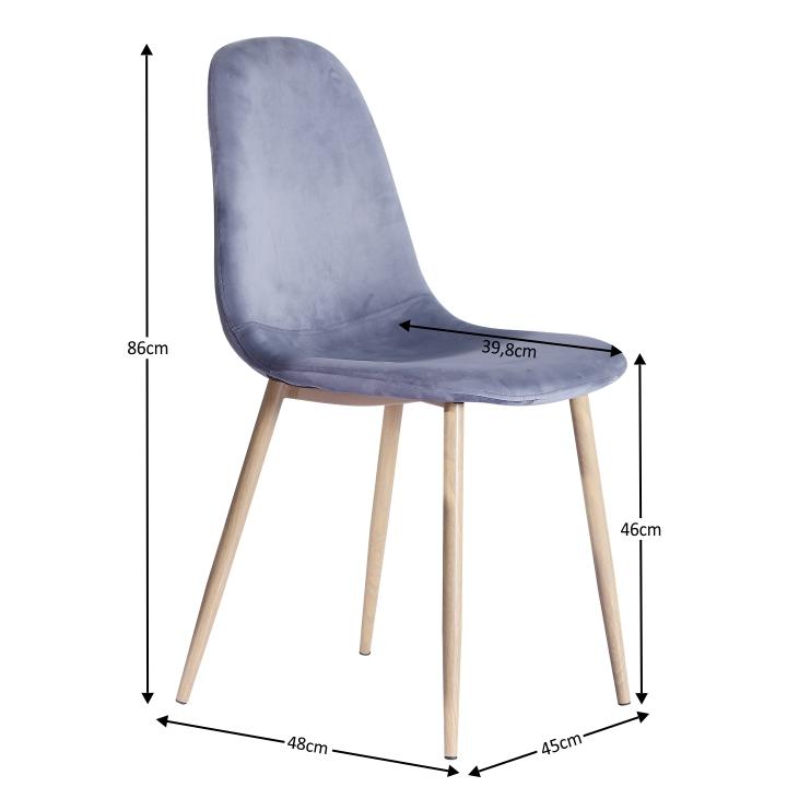 Stolička, sivá látka/kov s povrchovou úpravou buk, MAKARIA