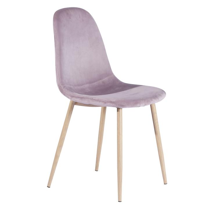 Stolička, ružová látka/kov s povrchovou úpravou buk, MAKARIA