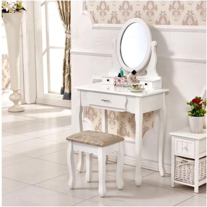 Toaletný stolík s taburetom, biela/strieborná, LINET