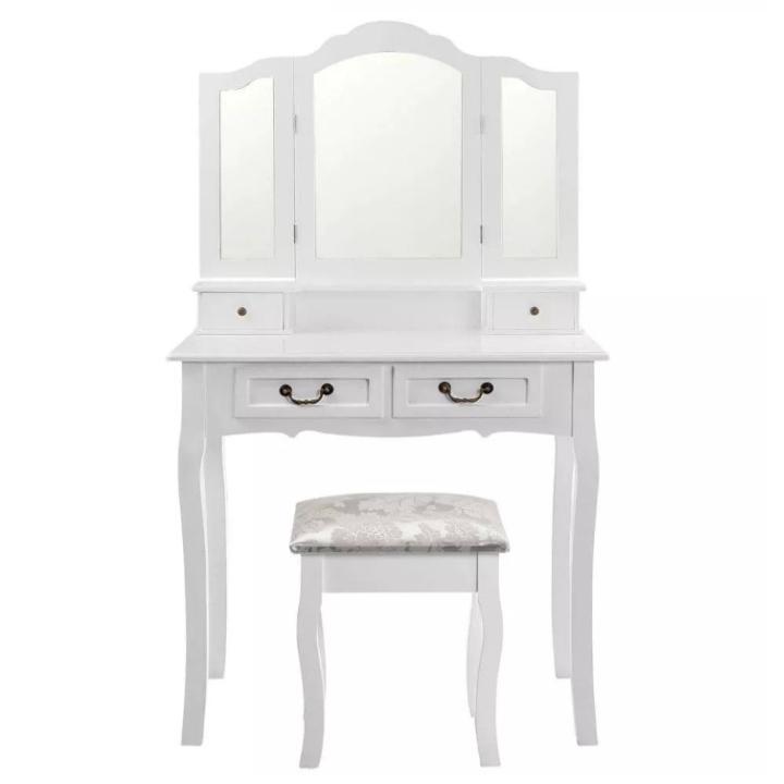 Toaletný stolík s taburetom, biela/strieborná, REGINA