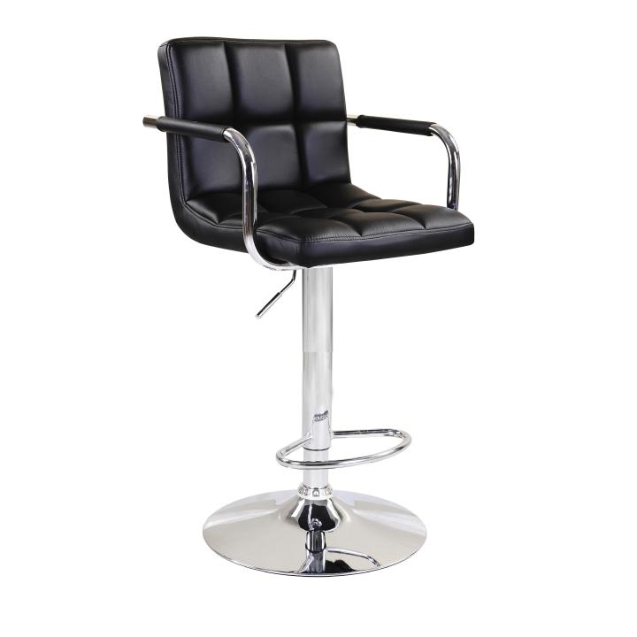 Barová stolička, čierna ekokoža/chróm, LEORA