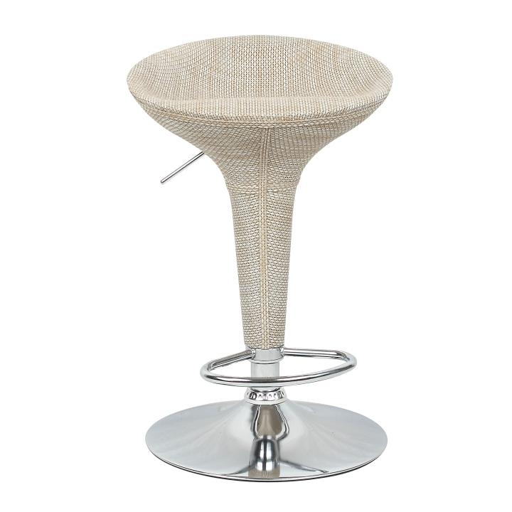 Barová stolička, ratan béžový/chróm, TURID